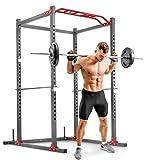 Hop-Sport Power Rack mit Klimmzugstange - Pulverbeschichtetes Stahl Squat Rack - Kraftturm Multipresse 24 Positionen - Power Cage 300kg Belastbarkeit